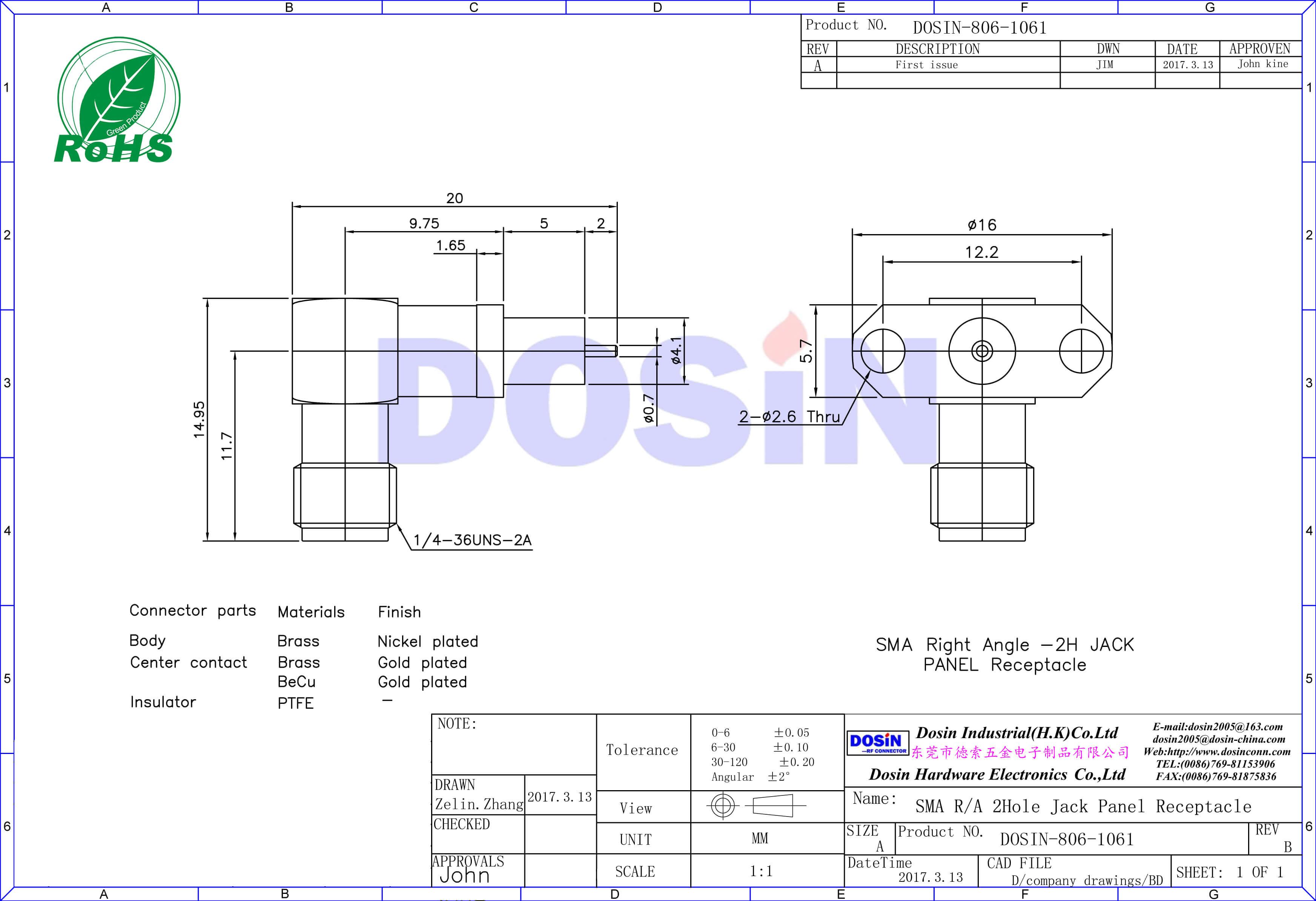 SMA母头连接器2孔法兰弯头不锈钢带延长铁氟龙插头
