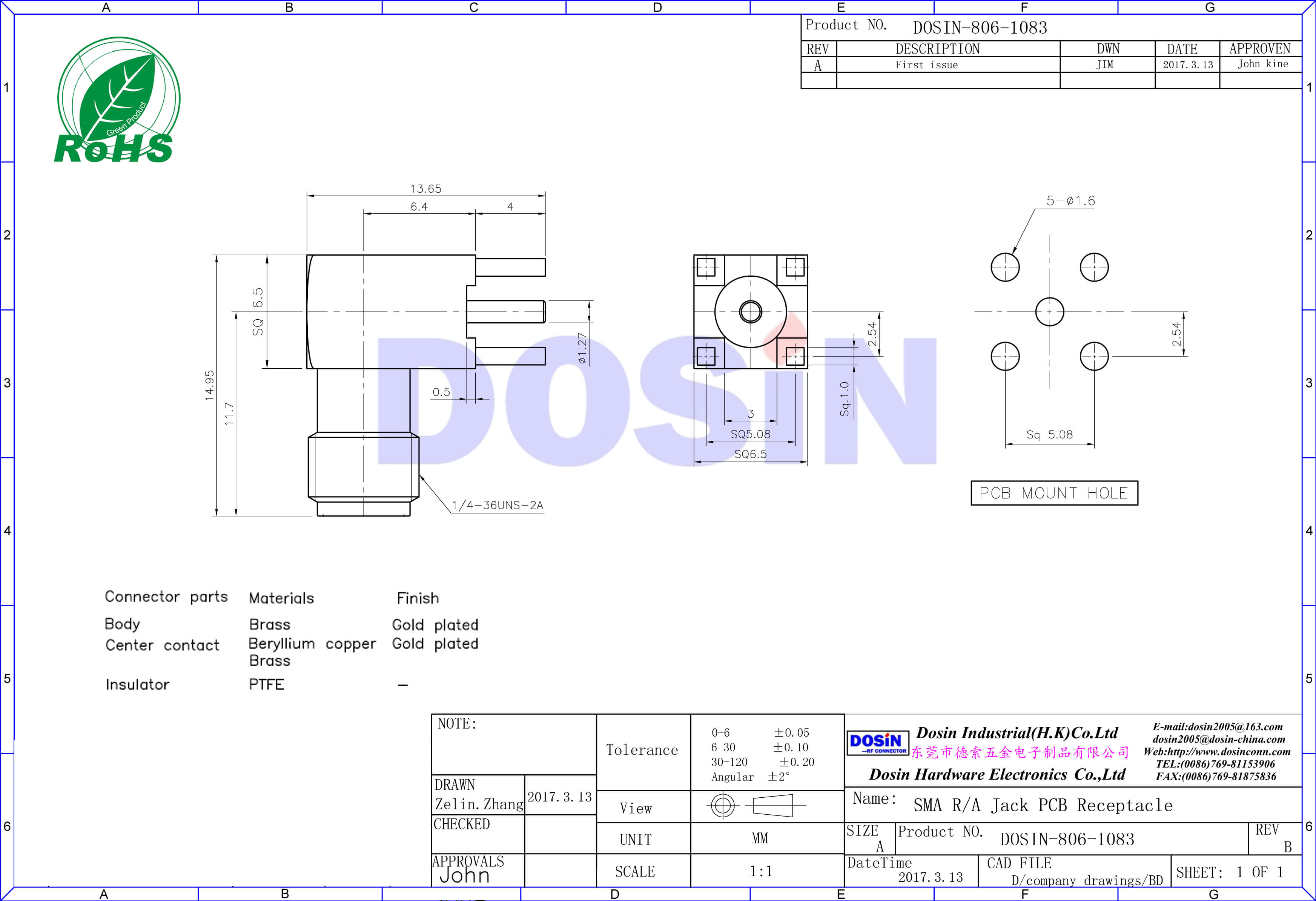 SMA弯式母接头接pcb板插座