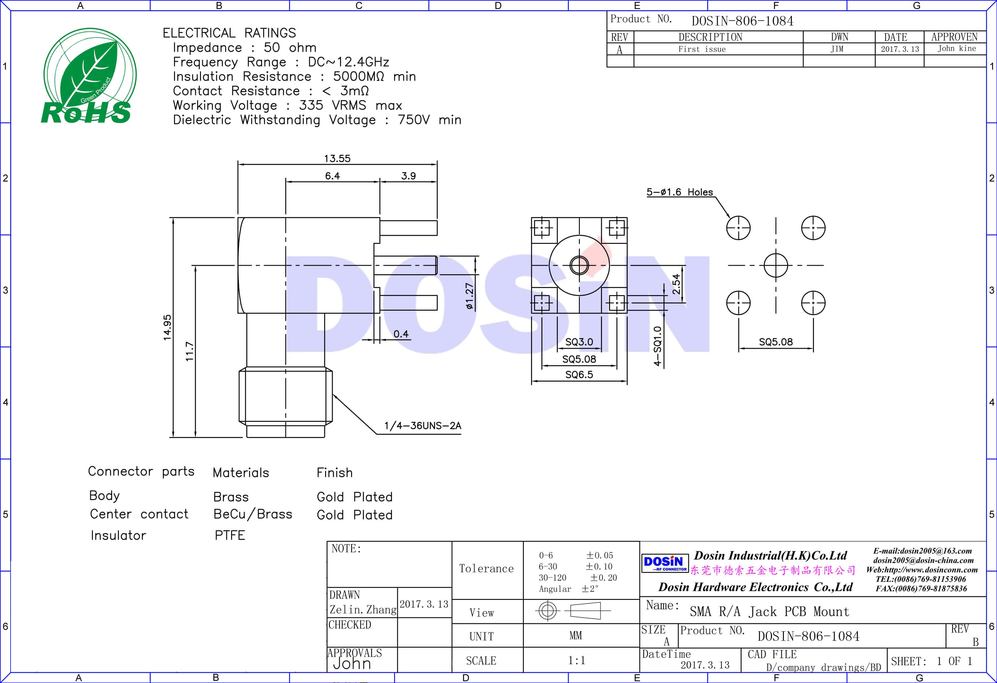 SMA连接器90度母头接pcb板插座
