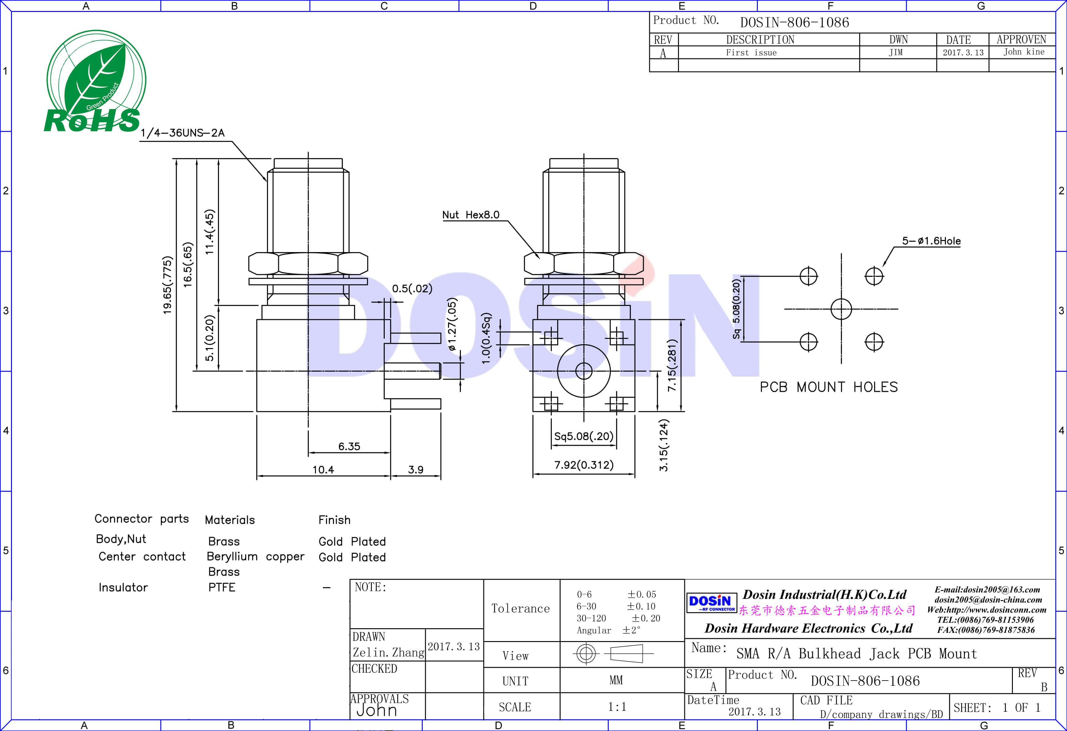 SMA接头90度加长弯式母头接pcb板插座
