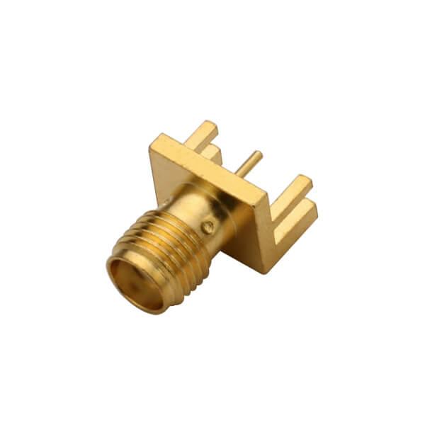 SMA卡板式母头插座镀金180度直式PCB插头