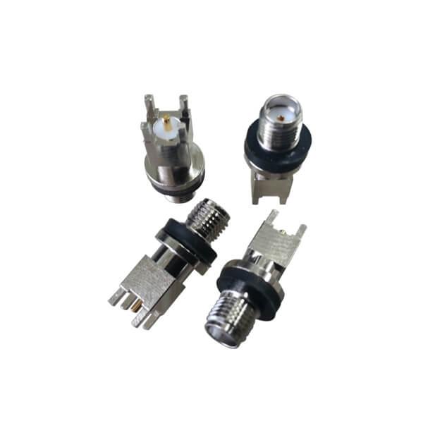 SMA直插式母头穿孔镀镍带EMI衬垫SMApcb连接器