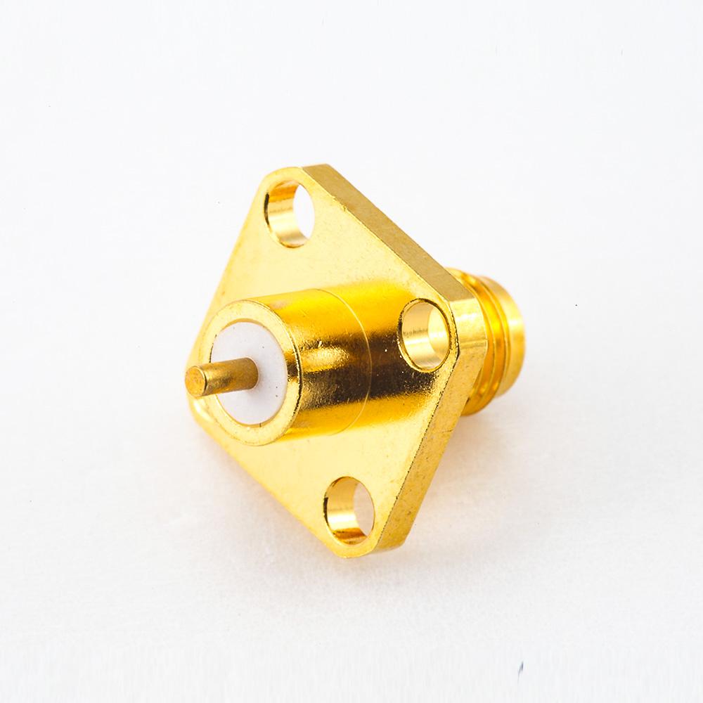 SMA插座连接器直式4孔法兰PCB安装焊板