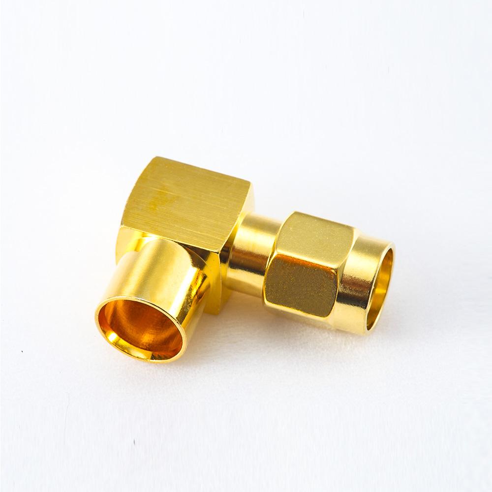 半柔/半刚性-5弯式SMA接线连接器公头焊接